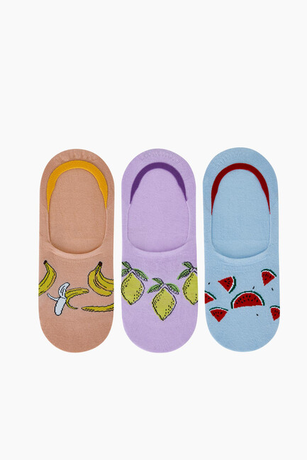 Bross - Trio of Fruit Patterned Women Babet Socks