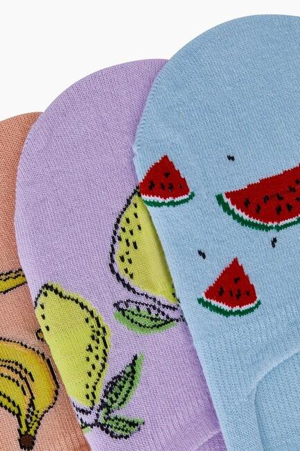 Trio of Fruit Patterned Women Babet Socks - Thumbnail