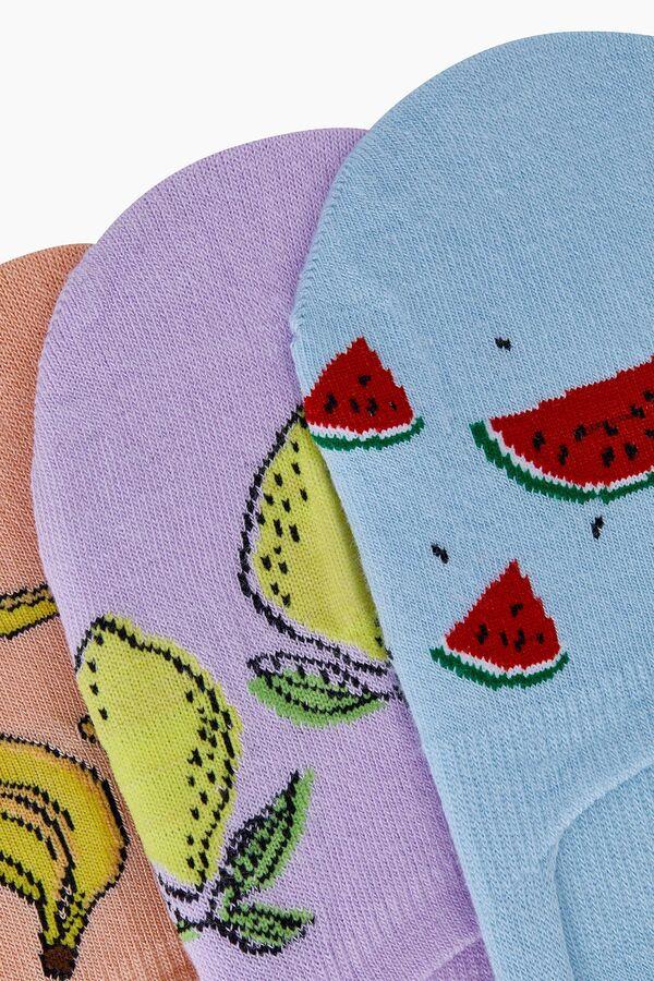 Trio of Fruit Patterned Women Babet Socks