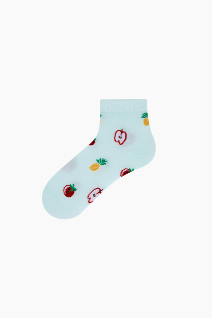 Triple Mixed Fruit Patterned Booties Women Socks - Thumbnail