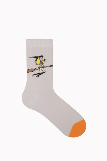 Bross Uçan Cadı Desenli Halloween Çorabı - Thumbnail