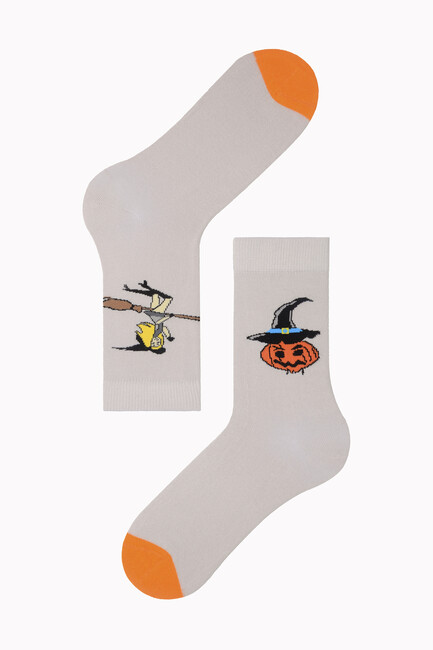 Bross - Flying Witch Patterned Halloween Women's Socks