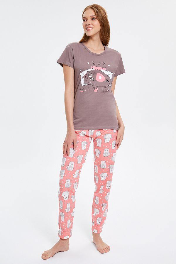 Uyku Desenli Kısa Kollu Kadın Pijama Takımı