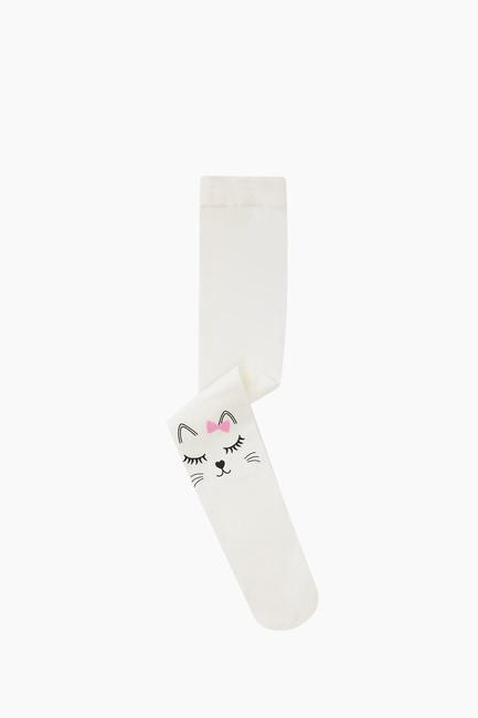 Bross - Uyuyan Kedi Desenli İnce Külotlu Çocuk Çorabı