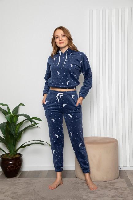 Bross - Uzun Kollu Ay Desenli Kapşonlu Kadın Pijama Takımı