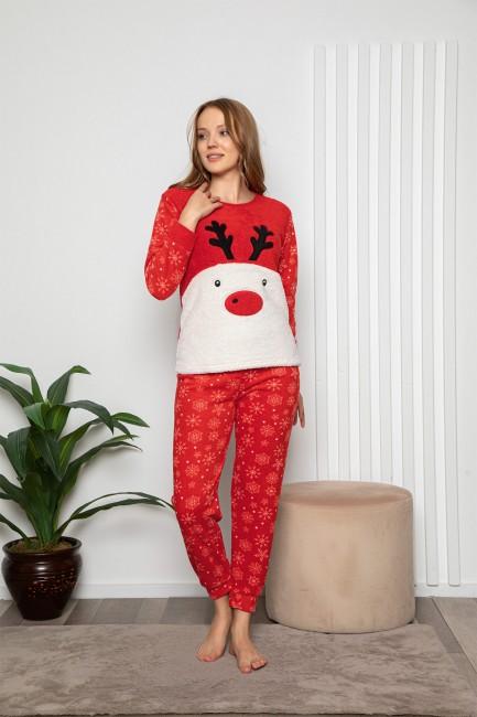 Bross - Uzun Kollu Geyik Desenli Kadın Pijama Takımı