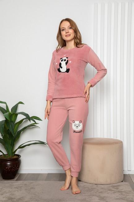Bross - Uzun Kollu Panda Desenli Kadın Pijama Takımı