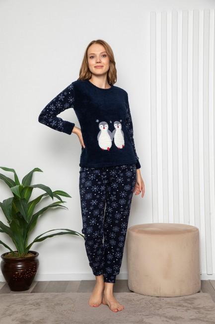 Bross - Uzun Kollu Penguen Desenli Kadın Pijama Takımı