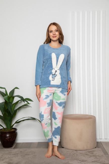 Bross - Uzun Kollu Tavşan Desenli Kadın Pijama Takımı