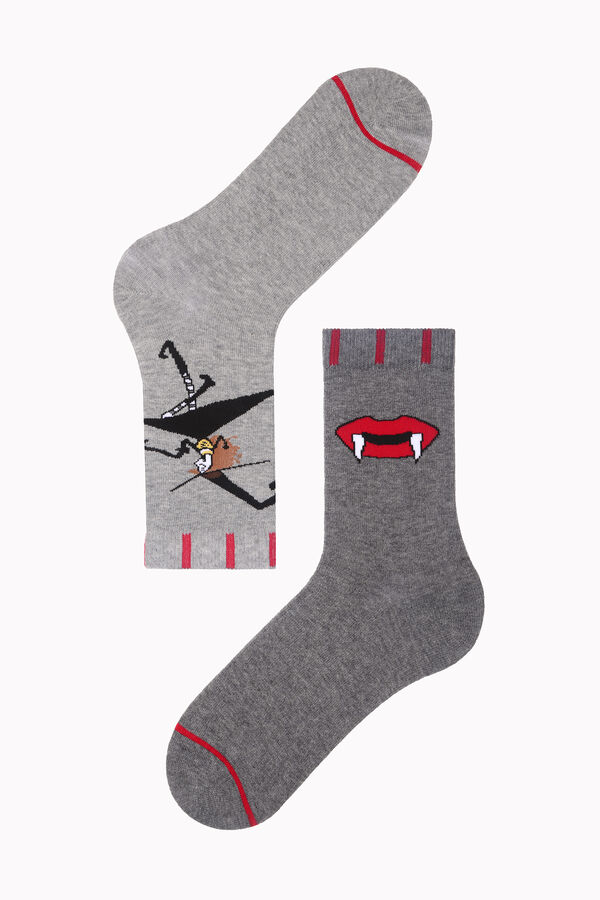 Bross Vampir Diş Desenli Halloween Kadın Çorabı