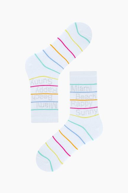 Yazılı Taş Baskılı Kadın Çorabı - Thumbnail