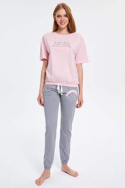 Bross - Yazılı Yarım Kollu Kadın Pijama Takımı