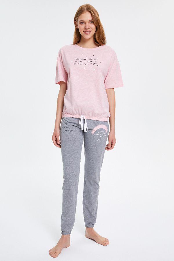 Yazılı Yarım Kollu Kadın Pijama Takımı