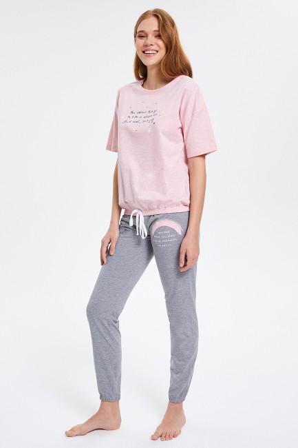 Yazılı Yarım Kollu Kadın Pijama Takımı - Thumbnail