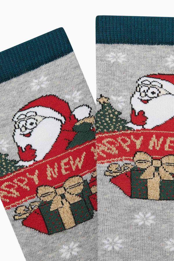 Yılbaşı Desenli Simli Happy New Year Yazılı Kadın Çorabı