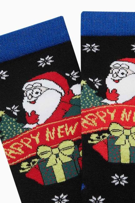 Yılbaşı Desenli Simli Happy New Year Yazılı Kadın Çorabı - Thumbnail