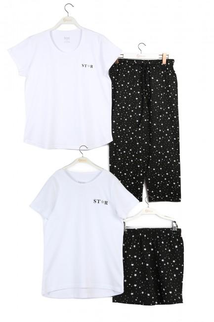 Bross - Yıldız Desenli Anne Çocuk Kombin Pijama Takımı