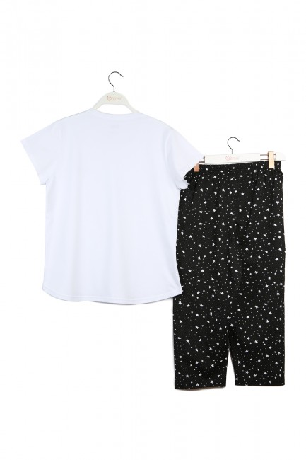 Yıldız Desenli Anne Çocuk Kombin Pijama Takımı - Thumbnail
