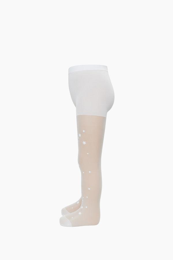 Yıldız Desenli İnce Külotlu Çocuk Çorabı