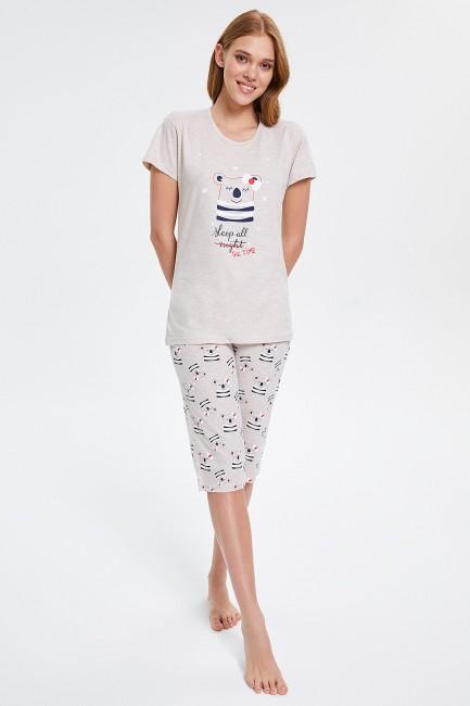 Bross - Yıldızlı Ayıcık Desenli Kapri Kadın Pijama Takımı