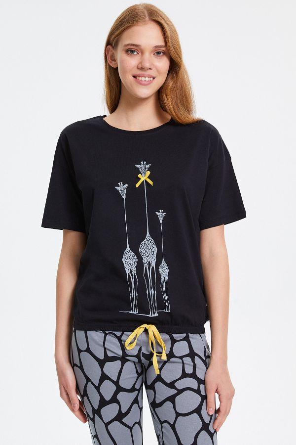 Zürafa Desenli Yarım Kollu Kadın Pijama Takımı