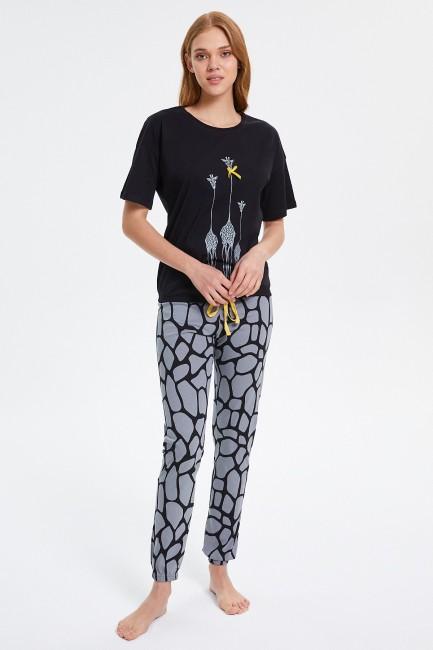 Bross - Giraffe Patterned Half Sleeve Women's Pajamas Set
